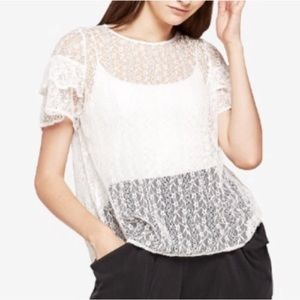 BCBGeneration semi-sheer lace top